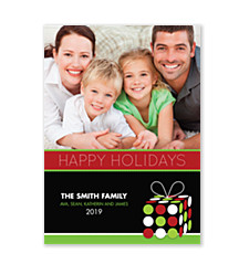 Polka Dot Present Holiday Photo Cards