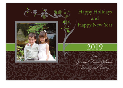 Asian Espresso Christmas Photo Cards