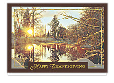Thanksgiving Golden Snowscape Holiday Cards