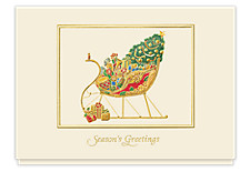 Golden Sleigh Greetings Holiday Cards