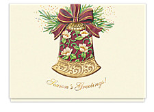 Glittering Holiday Bell Seasons Greetings Cards