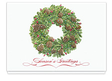 Classic Pinecone Wreath Holiday Cards