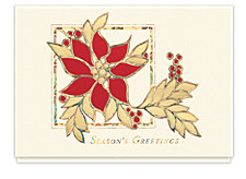 Stained Glass Poinsettia Christmas Cards