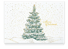 Sparkling Evergreen Merry Christmas Cards