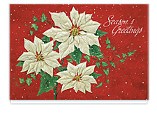 Poinsettia Sparkle Christmas Cards