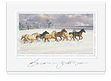 Holiday Spirit Horses Greeting Cards