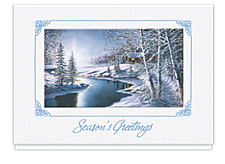 Frosty Night Seasons Greeting Cards