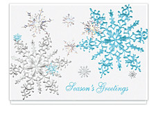 Shimmering Snowflakes Seasons Greeting Cards