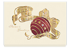Golden Sparkle Holiday Ornament Cards