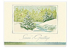 Snow Frost Pines Season's Greeting Cards
