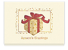 Gift Box Starburst Seasons Greeting Cards