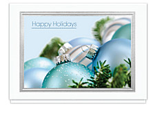 Frosted Blue Ornaments Holiday Card