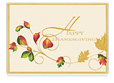Gold Thanksgiving Wishes Cards