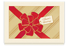 Red Ribbon Greetings Christmas Cards