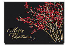 Merry Christmas Red Berries Holiday Cards