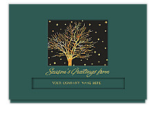 Golden Snowfall Die-Cut Holiday Cards