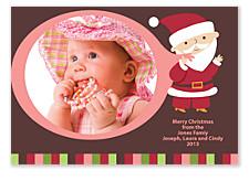Pink Santa Christmas Card