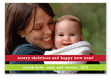 Red and Green Ribbon Christmas Photo Cards
