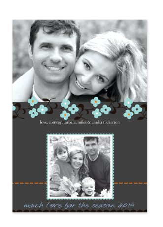Daisy Stitch Blue Christmas Photo Cards