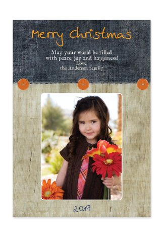 Ocean Wood Christmas Photo Cards