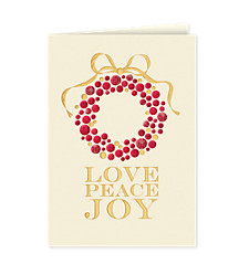 Love, Peace, Joy Wreath Holiday Card