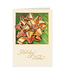 Golden Holiday Bow Holiday Cards