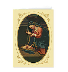 Madonna Adoring the Christ Child Greeting Card