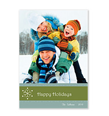 Snowflower on Green Photo Cards